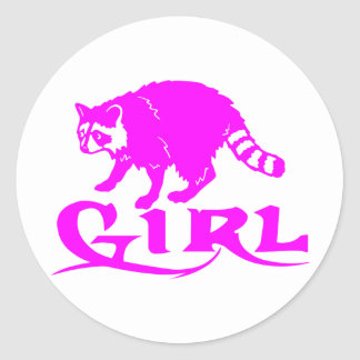 GIRL COON HUNTING CLASSIC ROUND STICKER