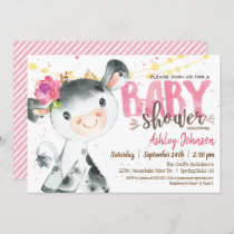 Girl Cow Baby Shower invitation, Pink Farm Invitation