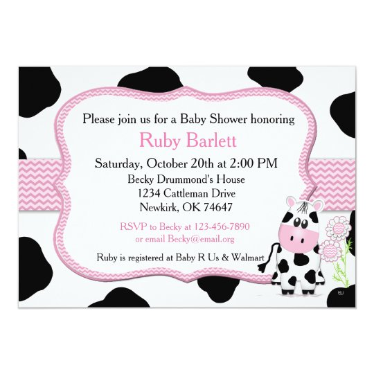 Cow Baby Shower Invitation With Chevron Print