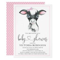Girl Cow Farm Baby Shower Invitations