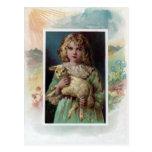 Girl Cradling Lamb Victorian Easter Post Cards