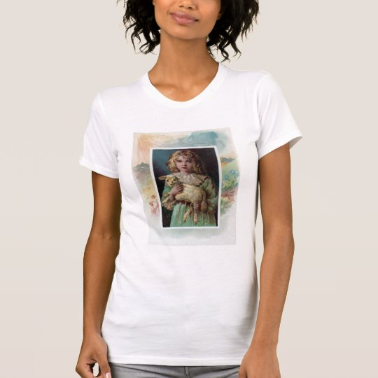 Girl Cradling Lamb Victorian Easter T-Shirt