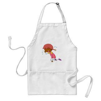 Girl crying adult apron