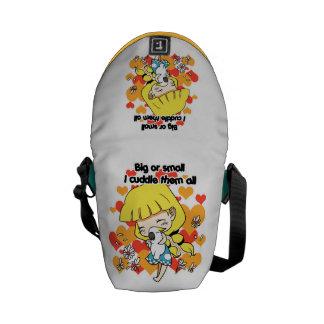 Girl cuddling birds cute cartoon messenger bag
