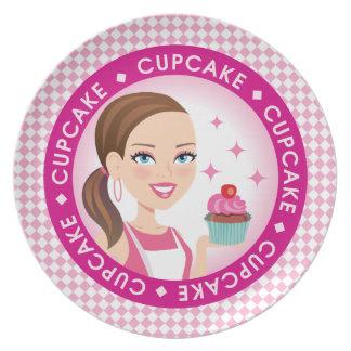 Girl Cupcake Plate Illustrated