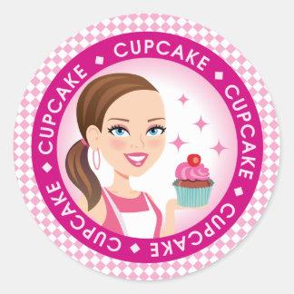 Girl & Cupcake Round Cupcake Label #2 Classic Round Sticker