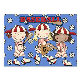 Girl Custom Baseball  Birthday Invite