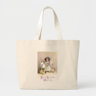 Girl, Daisies & Chicks on Leashes Large Tote Bag