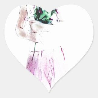 Girl dancer heart sticker