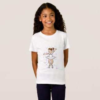 Girl dancing ballet under stars multicoloured T-Shirt
