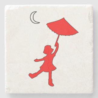 Girl dancing with an umbrella stone coaster