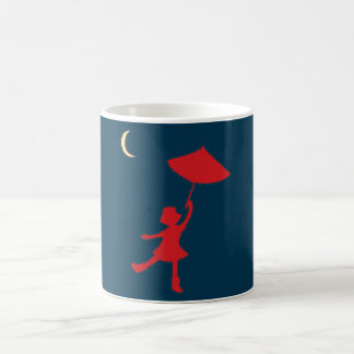 Girl dancing with her umbrella coffee mug