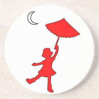 Girl dancing with her umbrella drink coaster