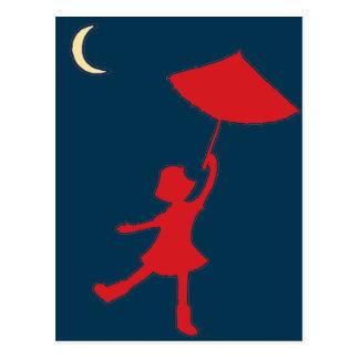Girl dancing with her umbrella postcard