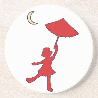 Girl dancing with her umbrella sandstone coaster