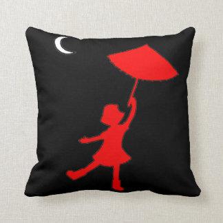 Girl dancing with her umbrella throw pillow