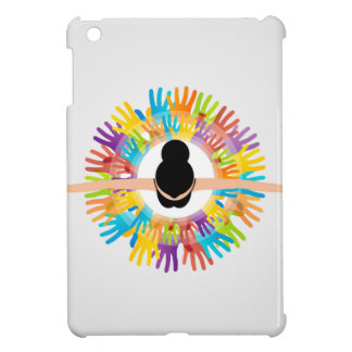 Girl dancing with silhouette of palm around iPad mini case
