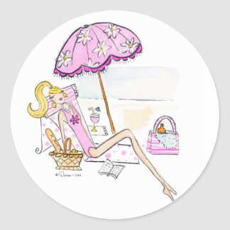 Girl - Day at the Beach Stickers