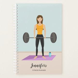 Girl Deadlifting & Personalizable Name Fitness Planner