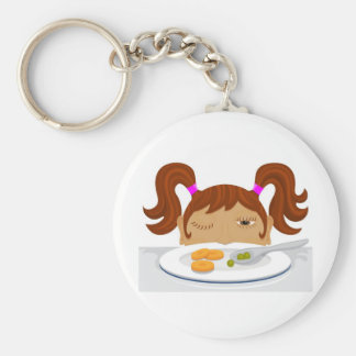 Girl deciding if she should eat her vegetables keychain