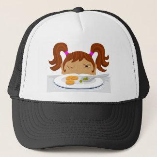 Girl deciding if she should eat her vegetables trucker hat