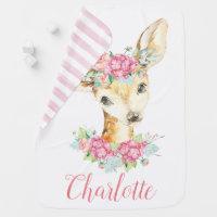 Girl Deer Personalized Baby Blanket