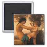 Girl Defending Herself Against Cupid by Bouguereau 2 Inch Square Magnet