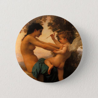Girl Defending Herself Against Cupid by Bouguereau Pinback Button