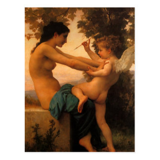 Girl Defending Herself Against Cupid by Bouguereau Postcard