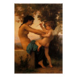 Girl Defending Herself Against Cupid by Bouguereau Poster