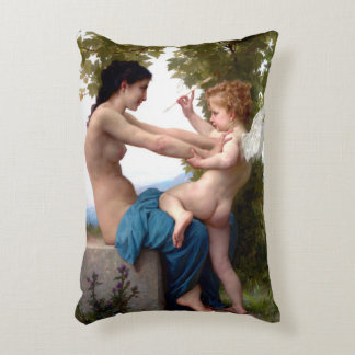 Girl Defending Herself Against Eros Cupid Painting Accent Pillow