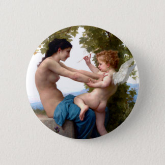 Girl Defending Herself Against Eros Cupid Painting Button