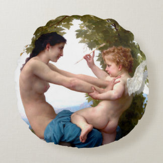 Girl Defending Herself Against Eros Throw Round Pillow