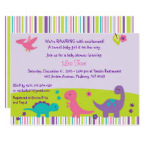 Girl Dinosaur Baby Shower Card