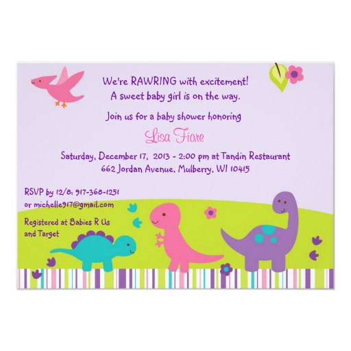 Girl Dinosaur Baby Shower Invitations