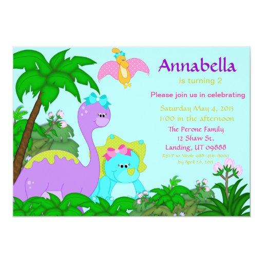 Girl Dinosaur Birthday Invitation Zazzle