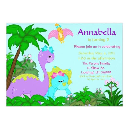 Girl dinosaur birthday invitation zazzle girl dinosaur birthday invitation filmwisefo