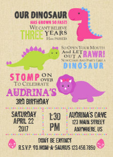 Girl birthday invitations announcements zazzle girl dinosaur birthday invitation stopboris Images