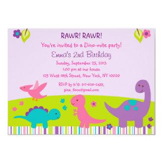 Girl Dinosaur Birthday Invitations