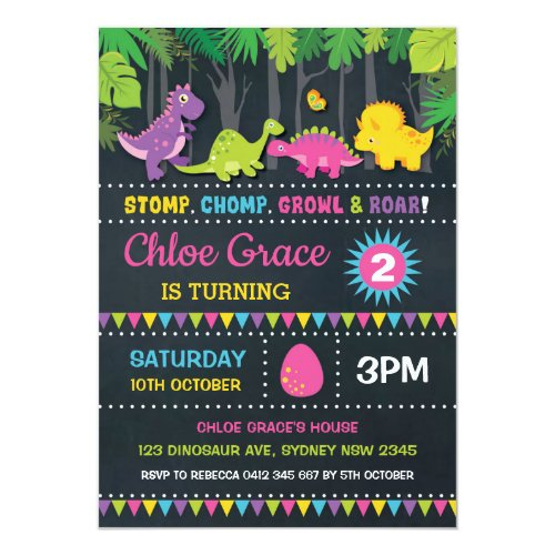 Girl Dinosaur Birthday Party Pink Roar Chalkboard Invitation