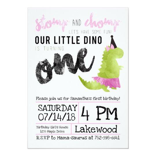 Girl Dinosaur Invitation Tutu First Birthday
