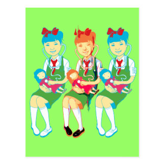 Girl Doctors and Dolls Postcard