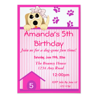 Girl Dog with Bow & Dog House Birthday Card