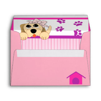 Girl Dog with Bow & Dog House Birthday Envelope