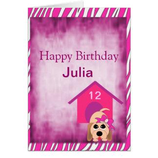 Girl Dog with Bow & Dog House Birthday Greeting Card