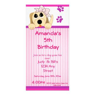 Girl Dog with Bow Dog House Birthday Photo Card