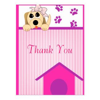 Girl Dog with Bow & Dog House Birthday Postcard