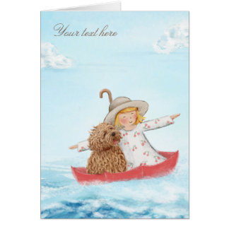 Girl & Dog With Umbrella At The Sea Card