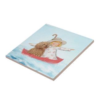 Girl & Dog With Umbrella At The Sea Ceramic Tile
