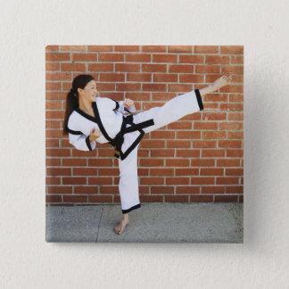 Girl doing martial arts 2 button